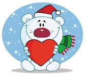 Christmas Polar Bear Holding A Heart — Stock Photo