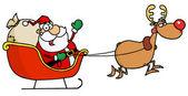 Tired Rudolph Flying Kris Kringle — Stock Photo