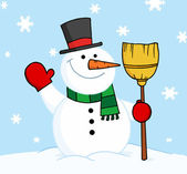 Snowman Holding A Broom And Waving — Stock Photo
