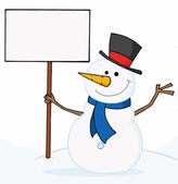 Snowman Holding A Blank Sign — Stock Photo