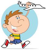 Niño feliz jugando con avión — Foto de Stock