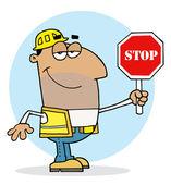 Hispanic Traffic Director Man Holding A Stop Sign — Stock Photo