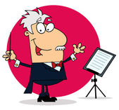 Caucasian Cartoon Conducting Man — Stock Photo