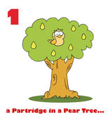 A partridge in a pear tree with text — Stock Photo
