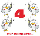 Four calling birds with text — Stockfoto