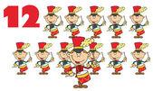 Red Number Twelve By Twelve Drummers Drumming — Stock Photo