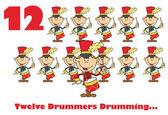 Doce tamborileros tambores con texto — Foto de Stock