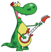 Dinosaur plays a guitar — Stock Photo