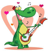 Dinosaur plays guitar with heart background — Stock Photo
