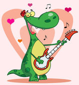 Happy dinosaur plays guitar with heart background — Stock Photo