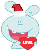 Christmas romantic bunny with love heart — Stock Photo
