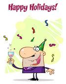 Man Celebrating Happy Holidays! — Stock Photo