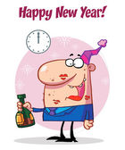 Happy Man Celebrating Happy New Year — Stock Photo