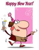 Woman Celebrating Happy New — Stock Photo