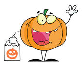 Character halloween happy pumkin bag — Stock Photo