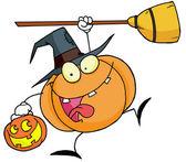 Cartoon character halloween happy pumkin — Stock Photo