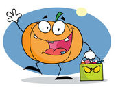 Cartoon character pumkin with bag — Stock Photo