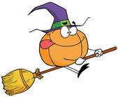 Cartoon character pumkin riding a broom — Stock Photo