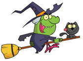 Cartoon character harrison rode a broomstick with a cat — Stock Photo