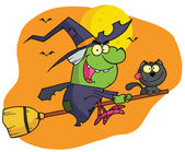 Character harrison rode a broomstick wit — Stock Photo