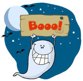 Ghost Holding Up A Wooden Boo Sign — Stock Photo