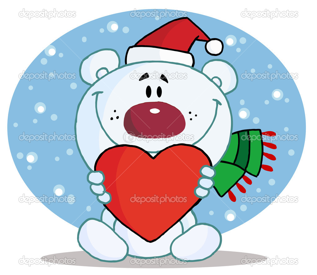 Christmas Polar Bear Holding A Heart — Stock Photo #2583274