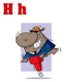 Funny Cartoons Alphabet-Hippo — Stock Photo