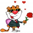 Cartoon Character Romantic Tiger — Stock Photo