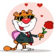 Romantic Tiger Holding A Box Of Candies And A Rose — ストック写真