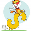 Stock Photo: Successful Tiger Riding On Dollar Symbol