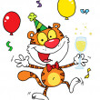 Happy Party Tiger Character With Champagne — Stock Photo