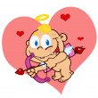 Cute Cupid with Bow and Arrow Flying - Stock Photo