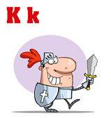 śmieszne bajki alfabet rycerz z lett — Zdjęcie stockowe