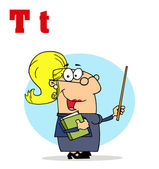 Funny Cartoons Alphabet-Female Teacher — Stock Photo
