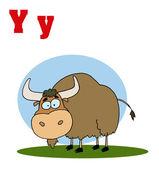 Funny Cartoons Alphabet-Yak — Stock Photo