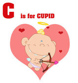 Funny Cartoons Alphabet-Cupid — Stock Photo