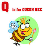Funny Cartoons Alphabet with Text-Q — 图库照片