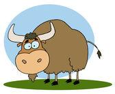 Yak marrón de dibujos animados sobre hierba, fondo — Foto de Stock