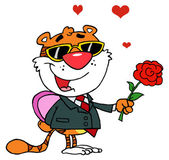 Cartoon Character Romantic Tiger — Stock Photo