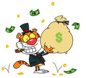 Tiger Smoking A Cigar And Holding Up A Bag Of Money — Stock Photo