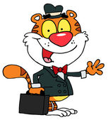 Tiger Waving And Carrying A Briefcase — Stock Photo