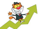 Cartoon Character Happy Tiger Riding On Success — Stock Photo