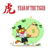 Tiger Holding A Money Bag With — Stock Photo