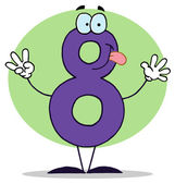 Funny Cartoon Numbers-8, background — Stock Photo