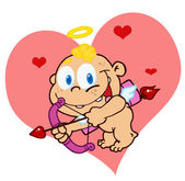 Cute Cupid with Bow and Arrow Flying — Stock Photo