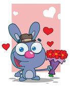 Romantic Blue Bunny — Stock Photo