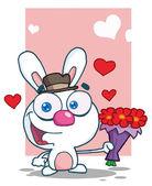Romantic White Bunny — Stock Photo