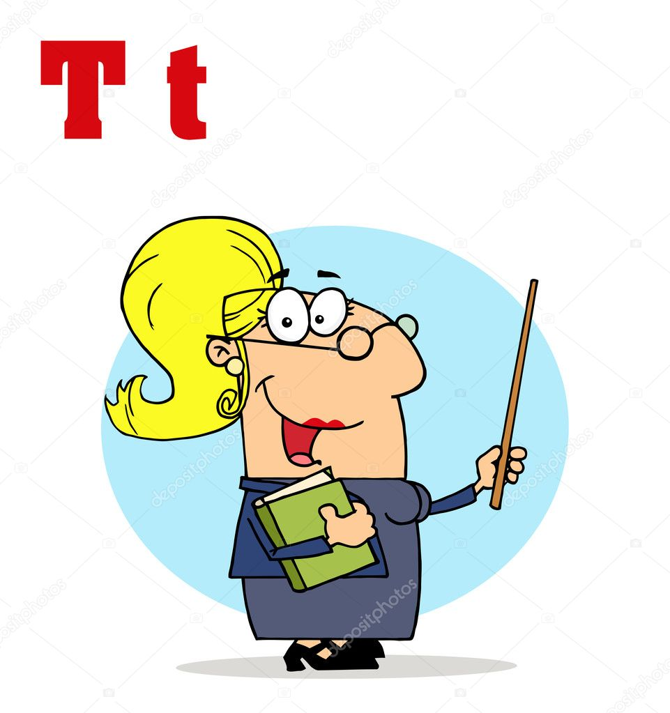 Funny cartoons alphabet female teacher stock image