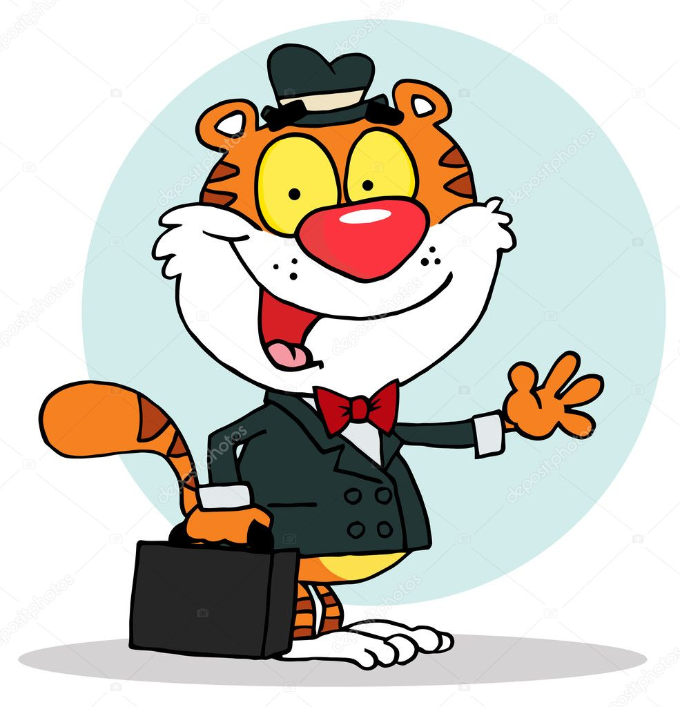 Salesman Tiger Waving And Carrying A Briefcase,background — Stock Photo #2610238