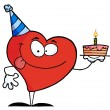 Red Heart Birthday — Stock Photo
